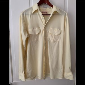 Vintage Yellow 70's polyester disco costume shirt